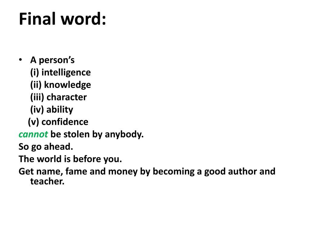 Final word: