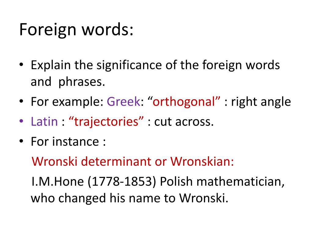 Foreign words: