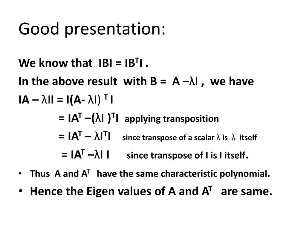 Good presentation: