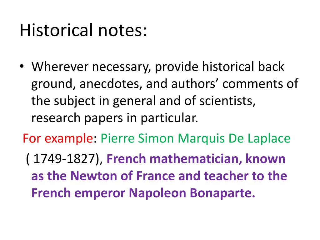 Historical notes:
