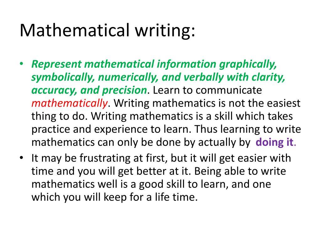 Mathematical writing: