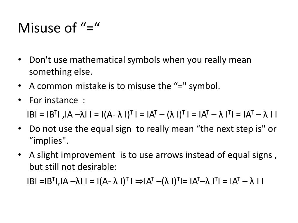 "Misuse of ""="""