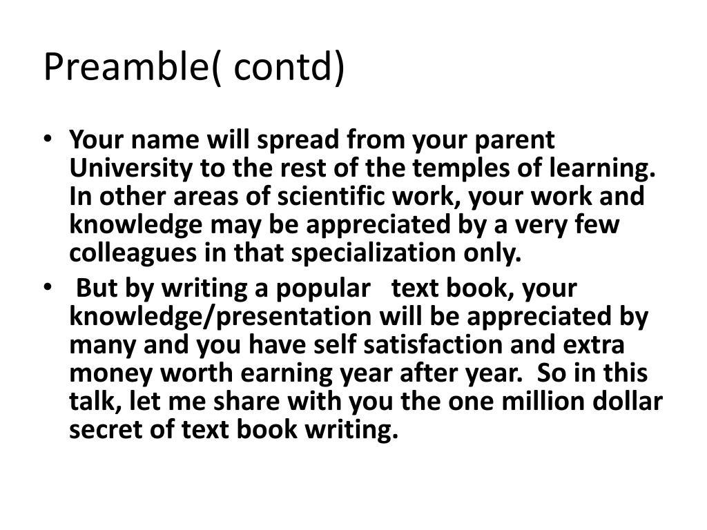 Preamble( contd)