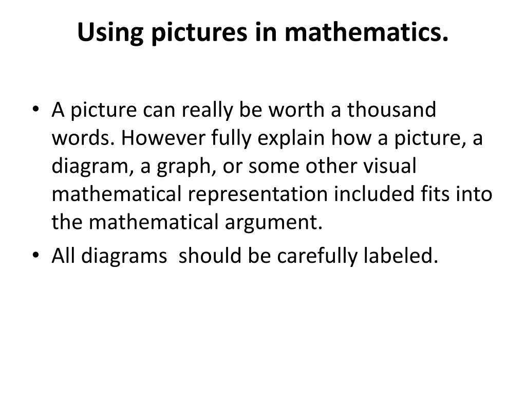 Using pictures in mathematics.