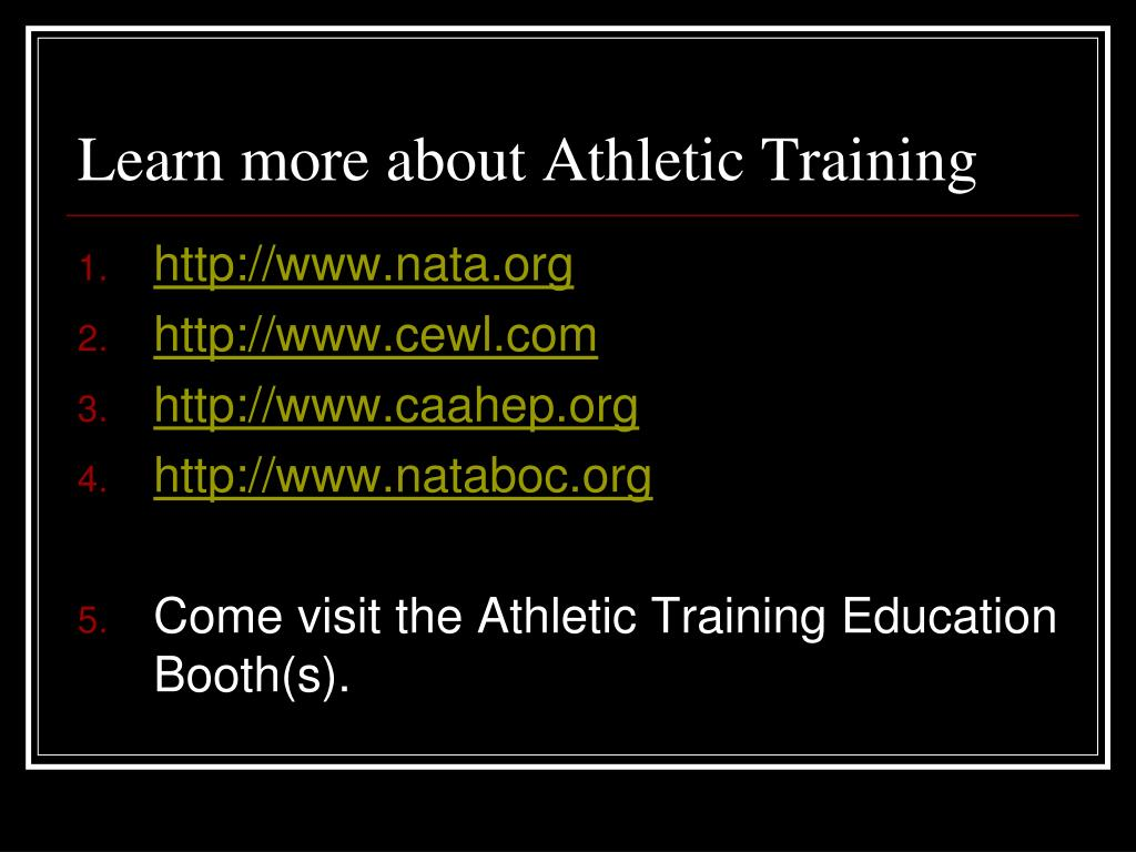 Learn more about Athletic Training