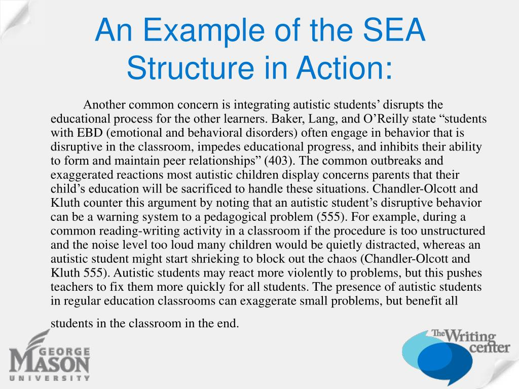 An Example of the SEA Structure in Action: