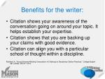 benefits for the writer