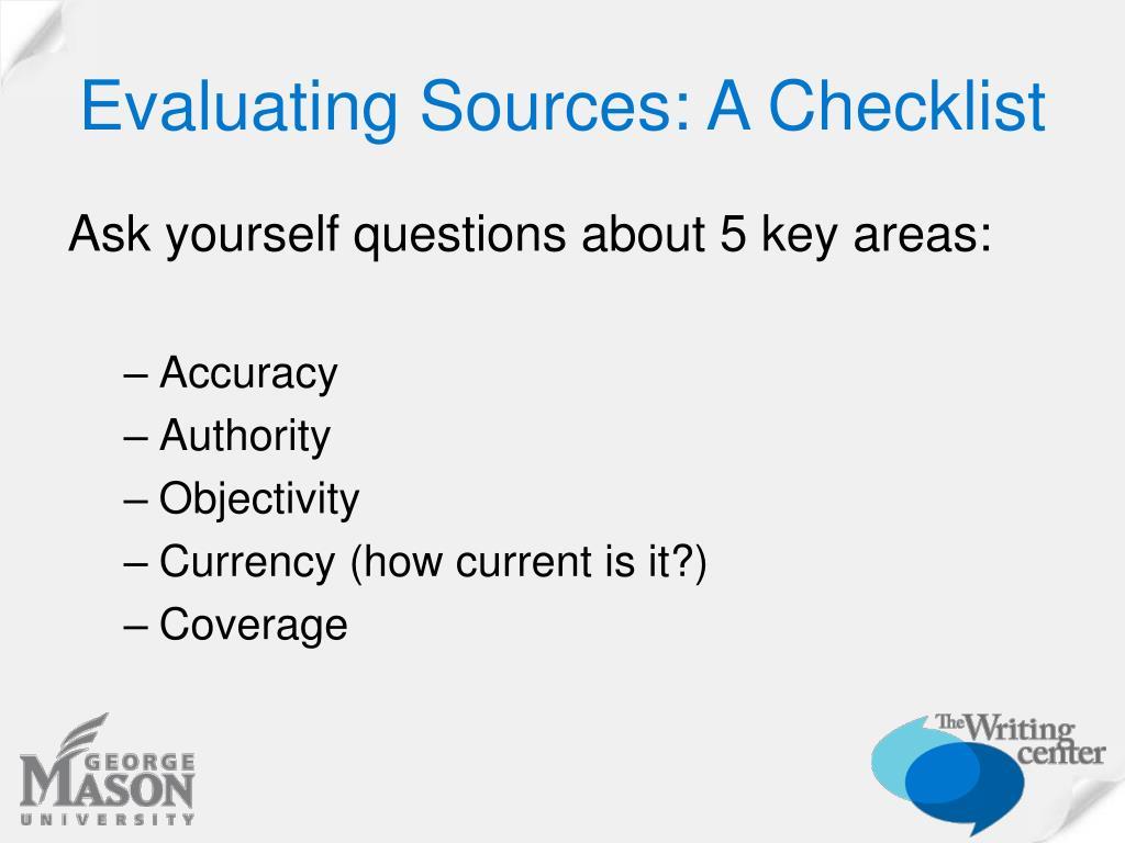 Evaluating Sources: A Checklist