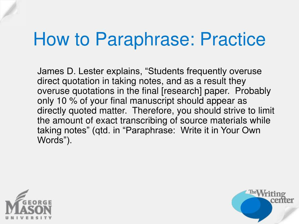 How to Paraphrase: Practice