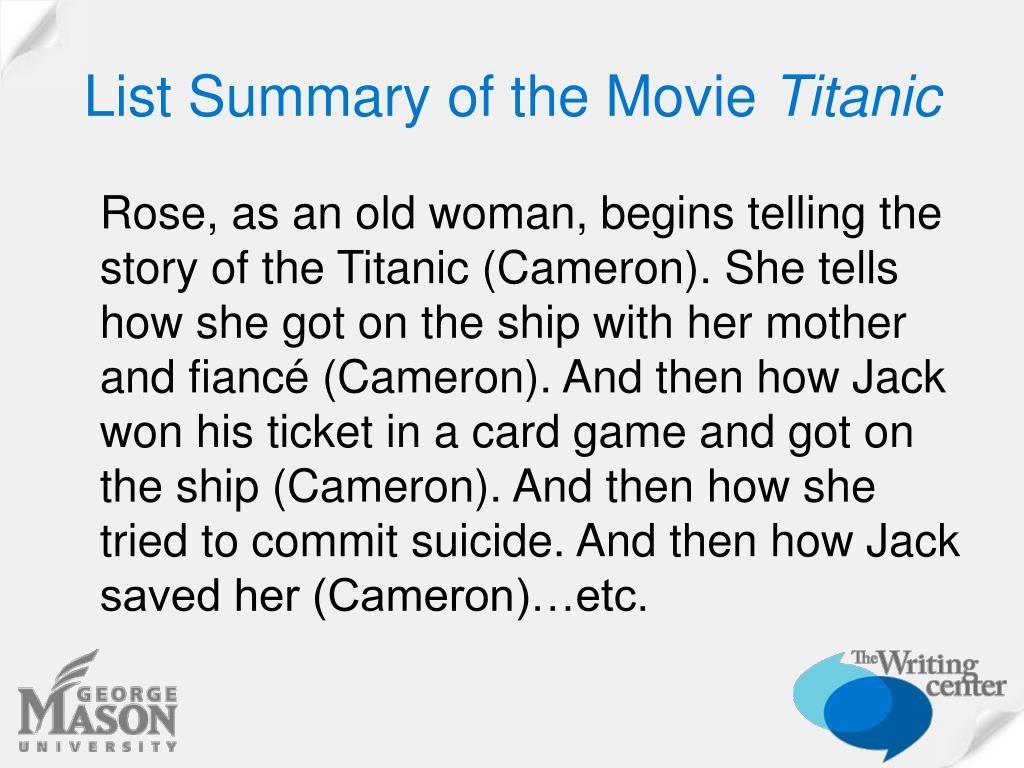 List Summary of the Movie