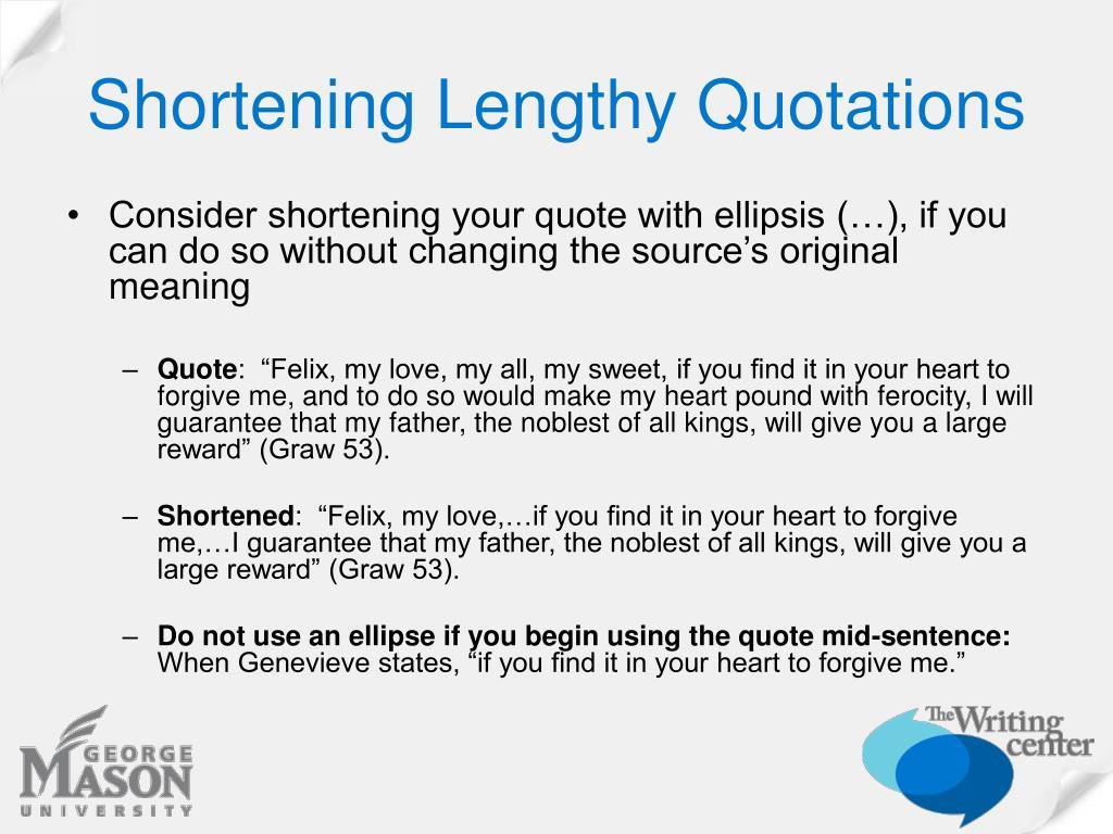 Shortening Lengthy Quotations