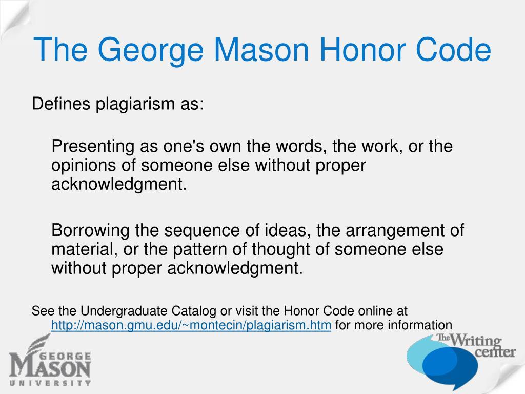 The George Mason Honor Code