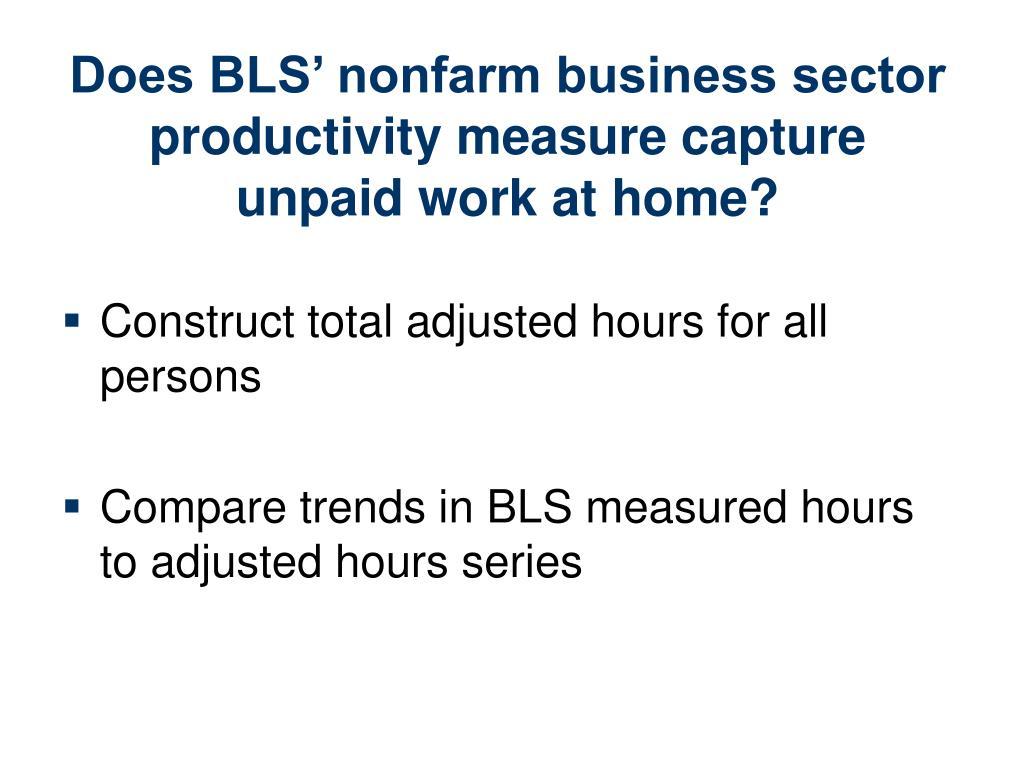 Does BLS' nonfarm business sector productivity measure capture