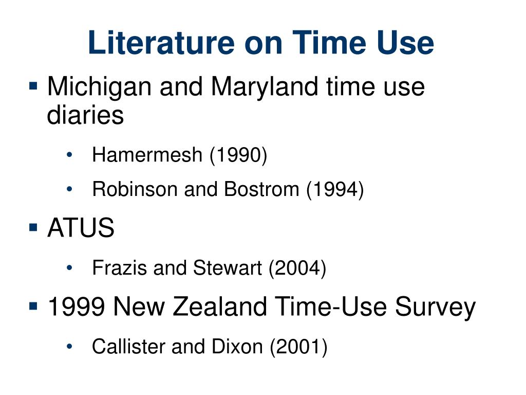 Literature on Time Use