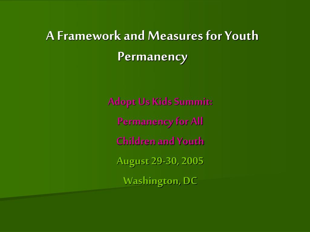 A Framework and Measures for Youth Permanency