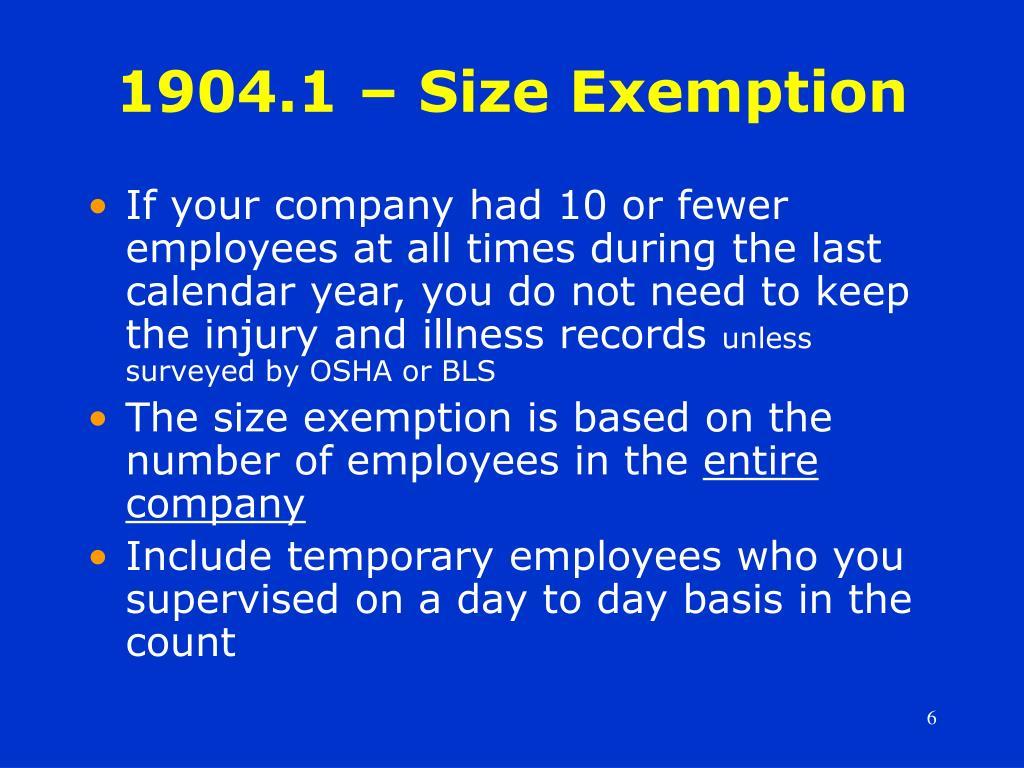 1904.1 – Size Exemption