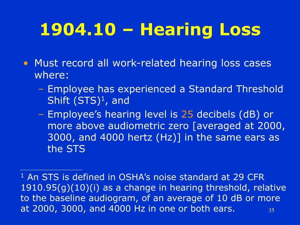 1904.10 – Hearing Loss