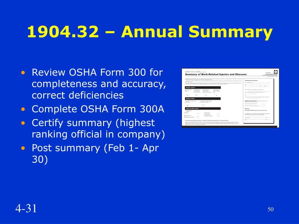 1904.32 – Annual Summary