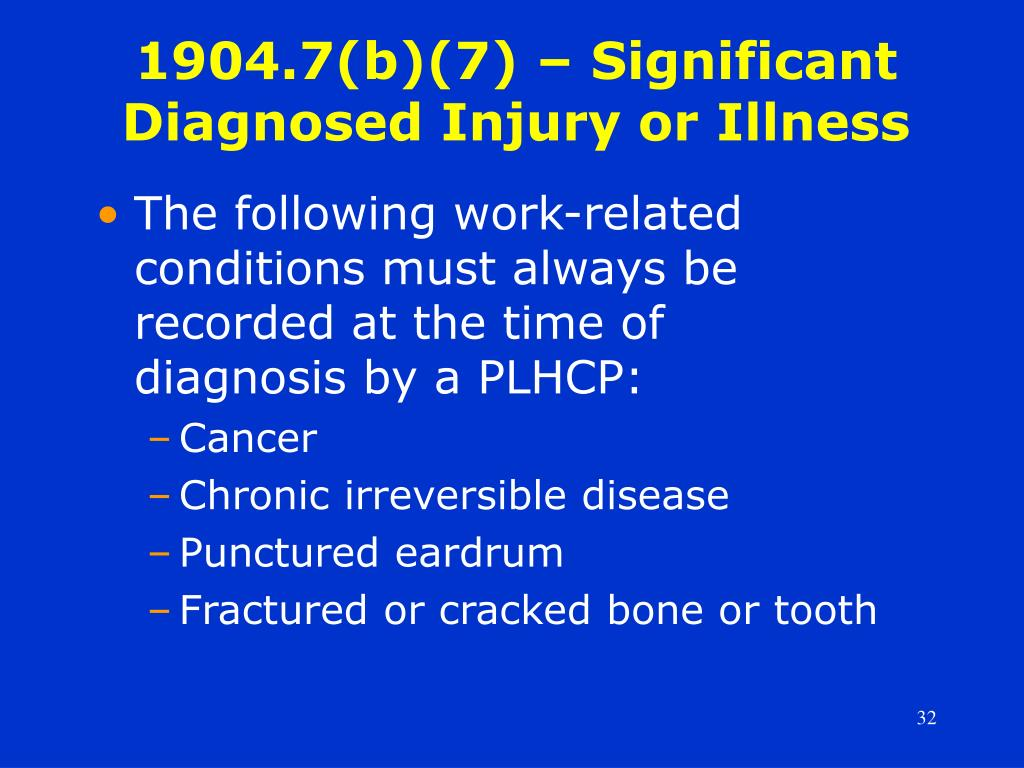 1904.7(b)(7) – Significant Diagnosed Injury or Illness