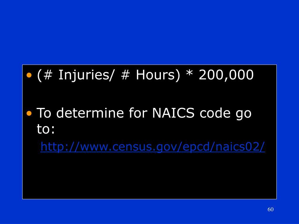 (# Injuries/ # Hours) * 200,000
