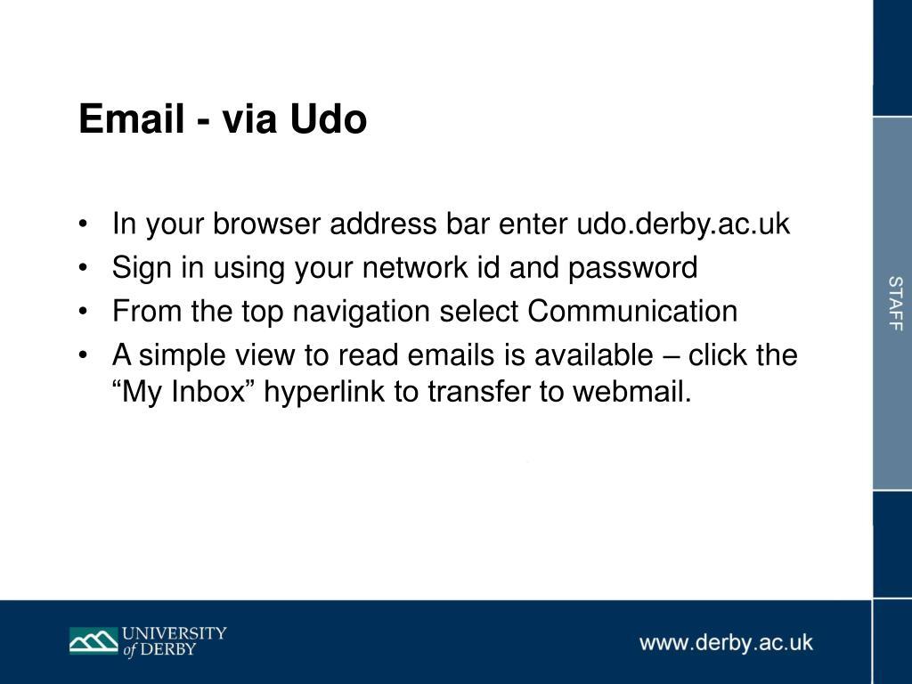 Email - via Udo