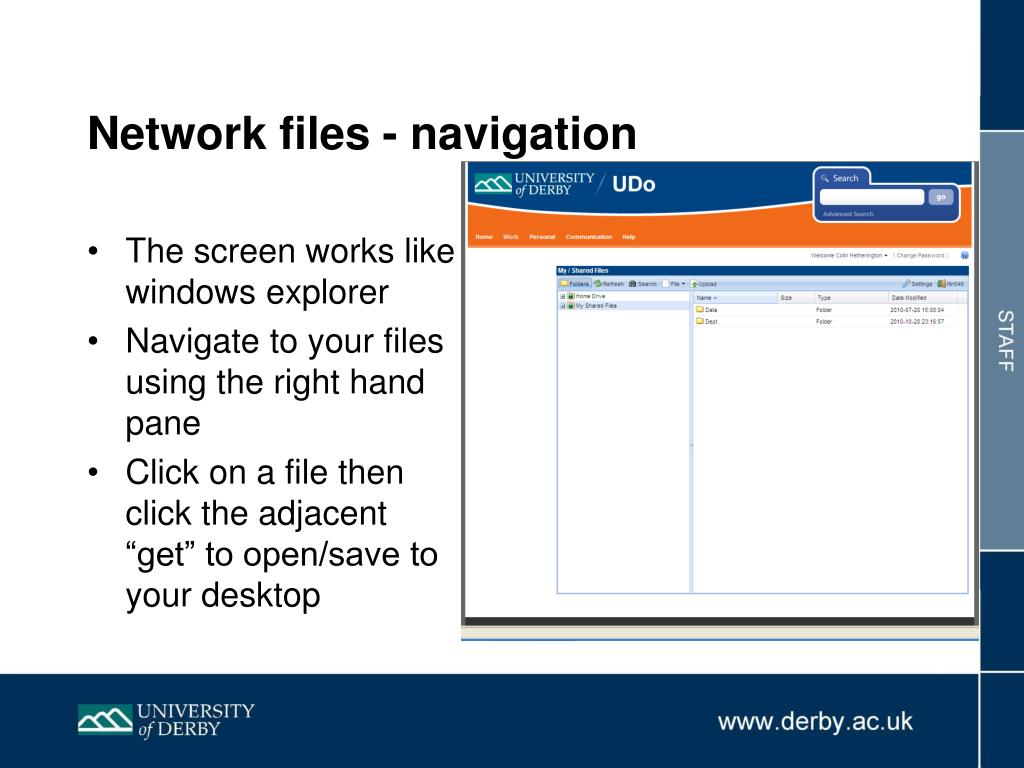Network files - navigation
