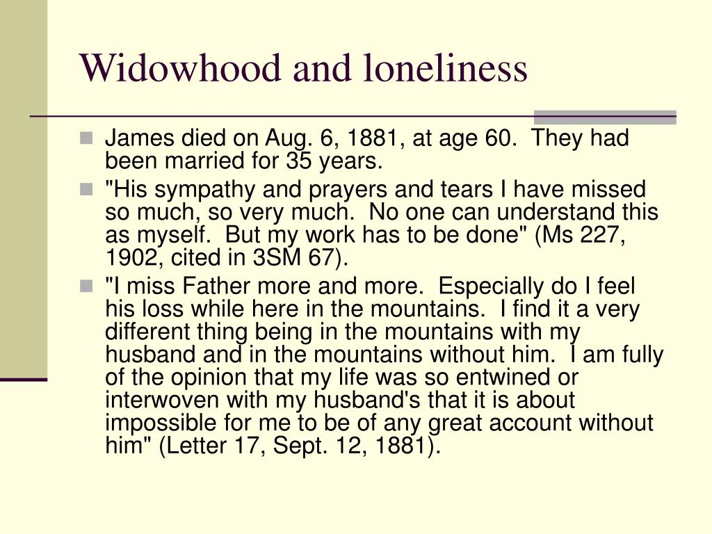Widowhood and loneliness