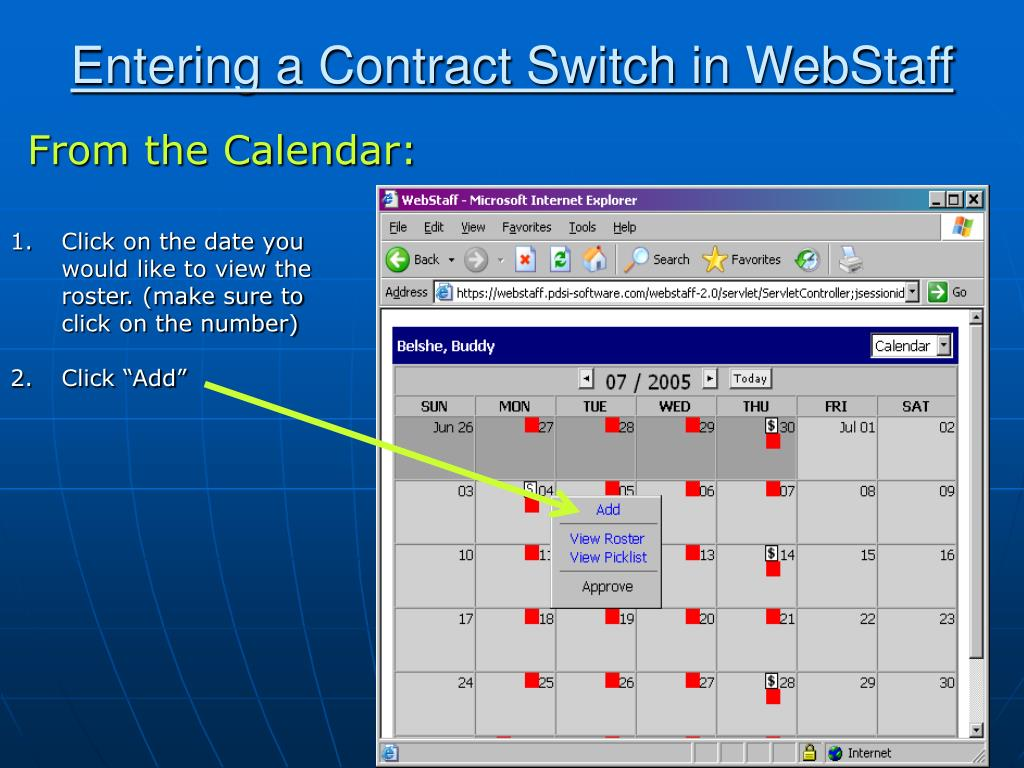 Entering a Contract Switch in WebStaff