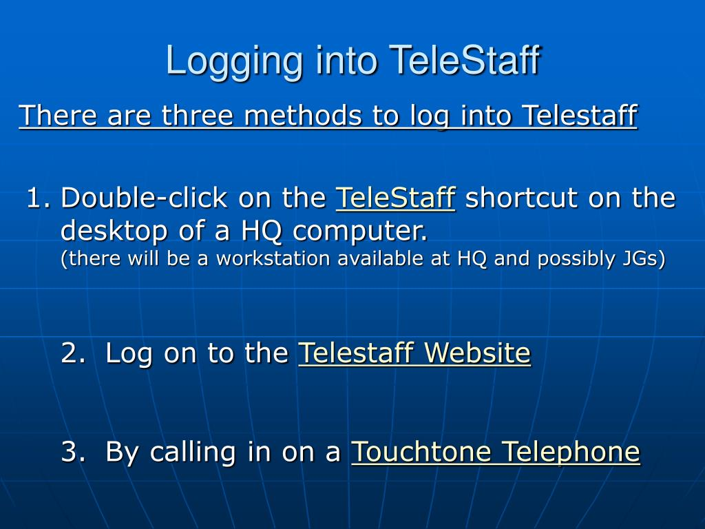 Logging into TeleStaff