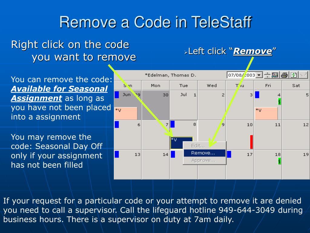 Remove a Code in TeleStaff