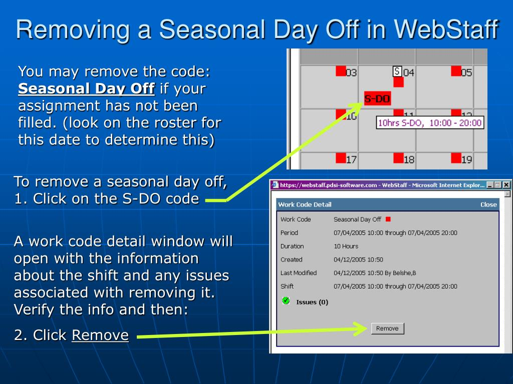 Removing a Seasonal Day Off in WebStaff