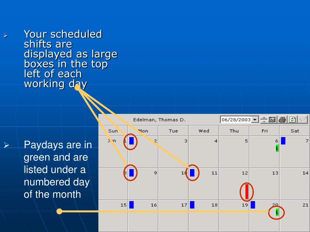 Your scheduled shifts are displayed as large boxes in the top left of each working day