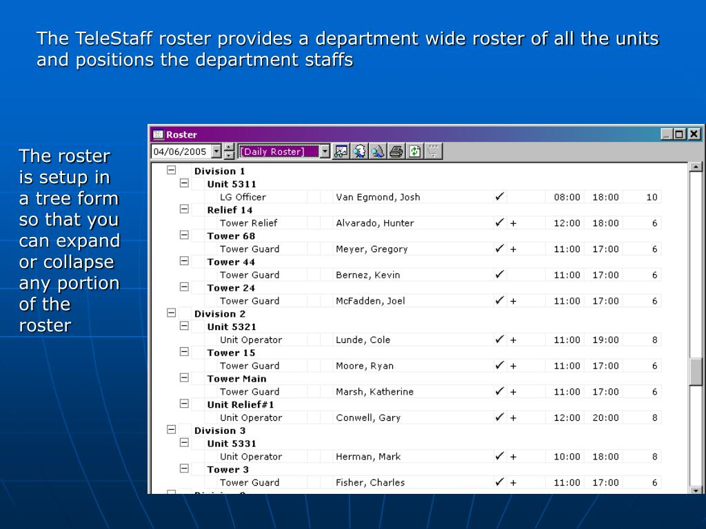The TeleStaff roster provides a department wide roster of all the units and positions the department staffs