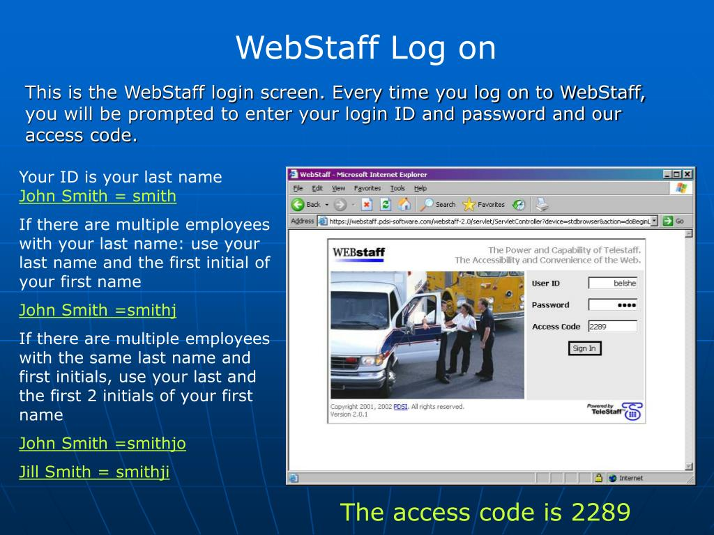 WebStaff Log on