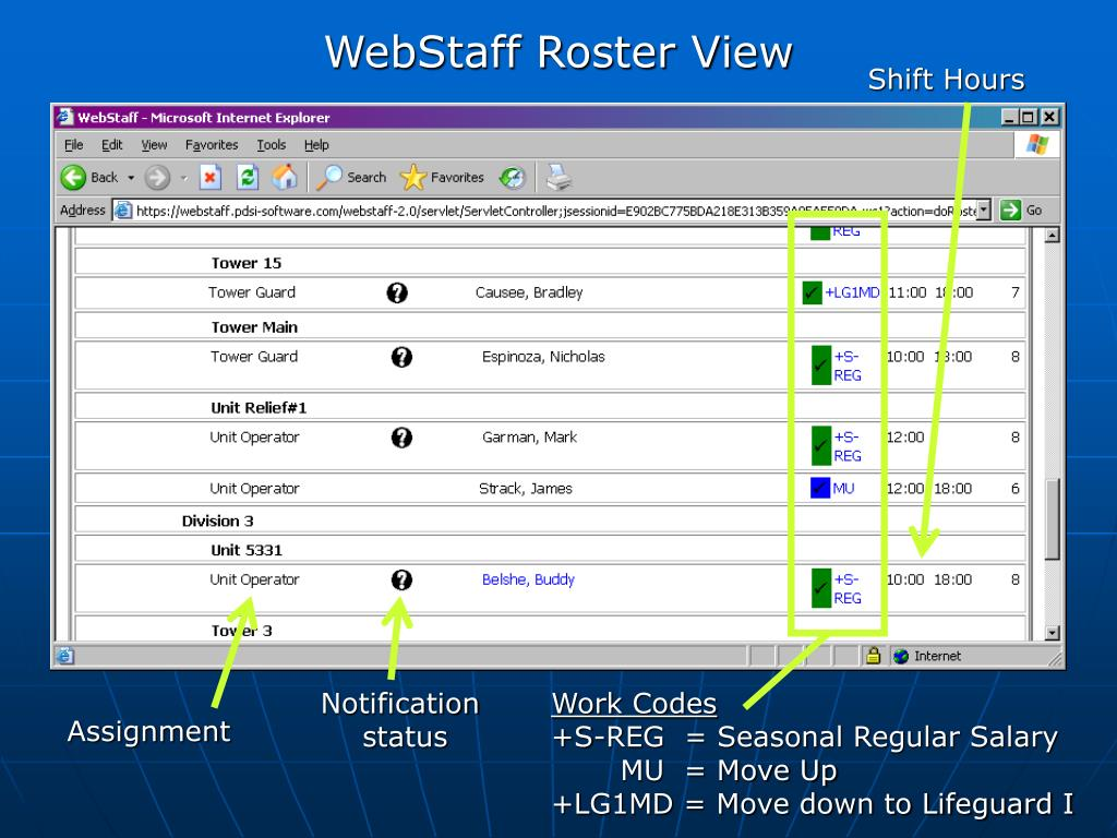 WebStaff Roster View