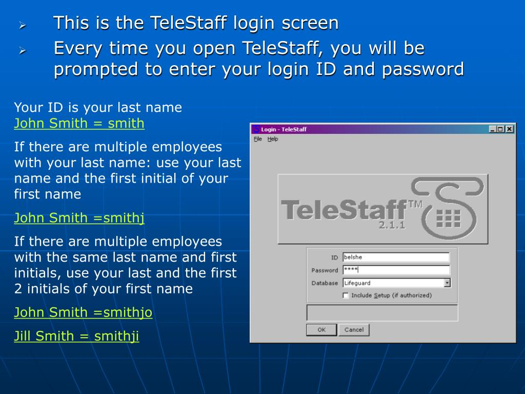 This is the TeleStaff login screen