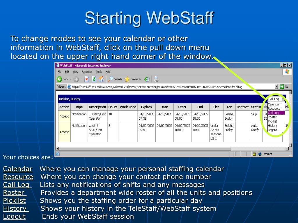 Starting WebStaff