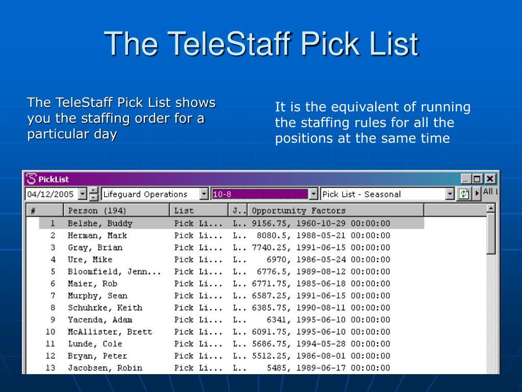 The TeleStaff Pick List