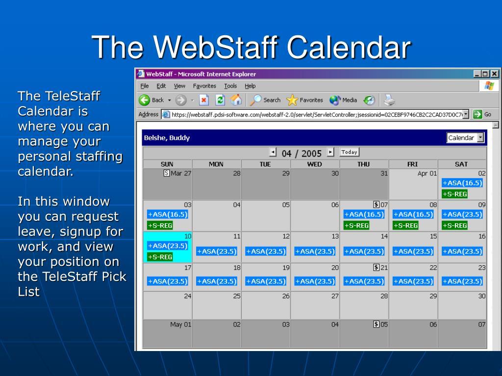 The WebStaff Calendar