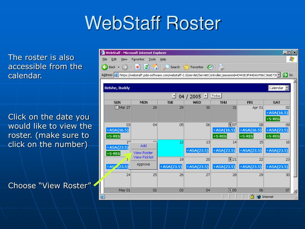 WebStaff Roster