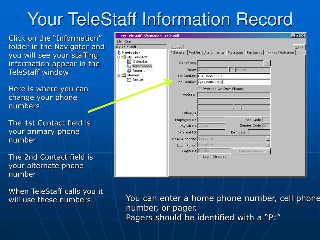 Your TeleStaff Information Record