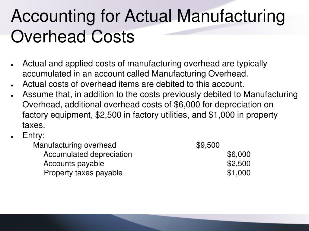 Accounting for Actual Manufacturing Overhead Costs