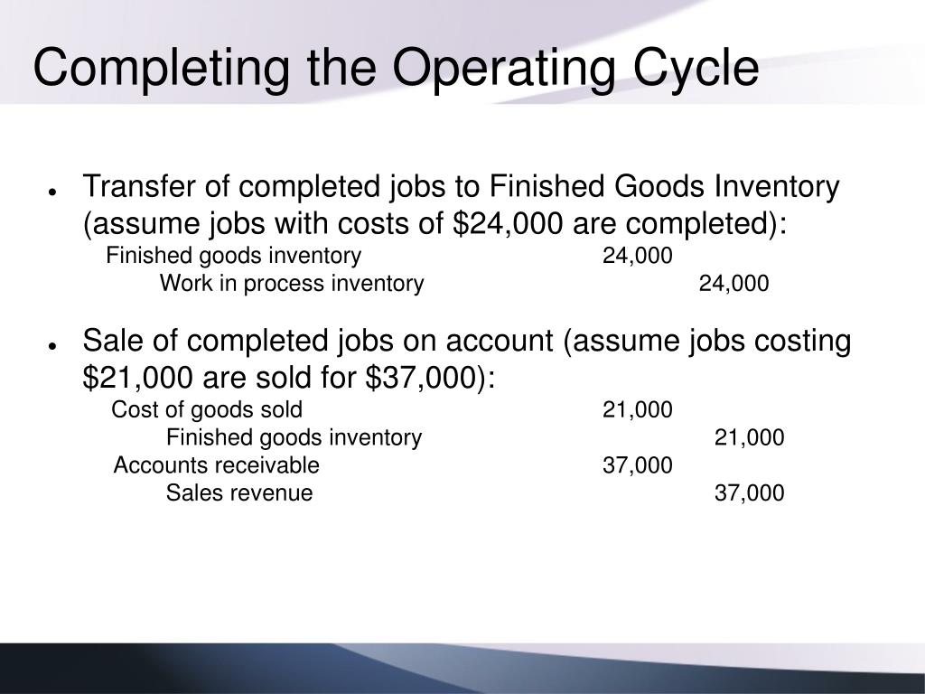 Completing the Operating Cycle