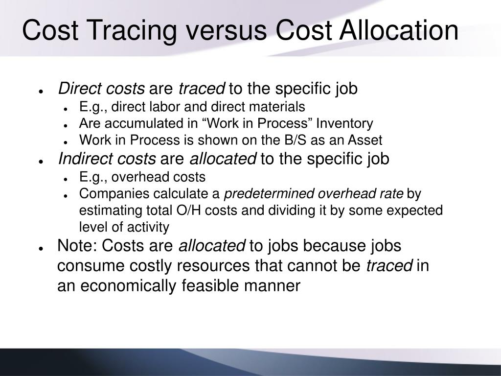 Cost Tracing versus Cost Allocation