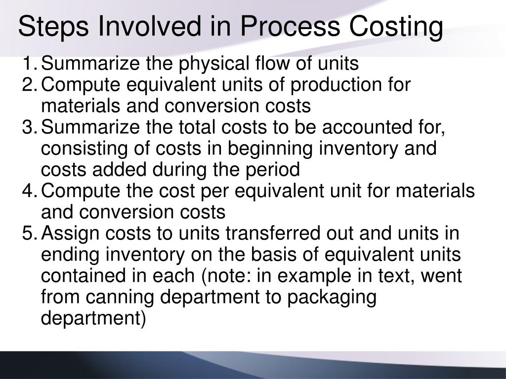 Steps Involved in Process Costing