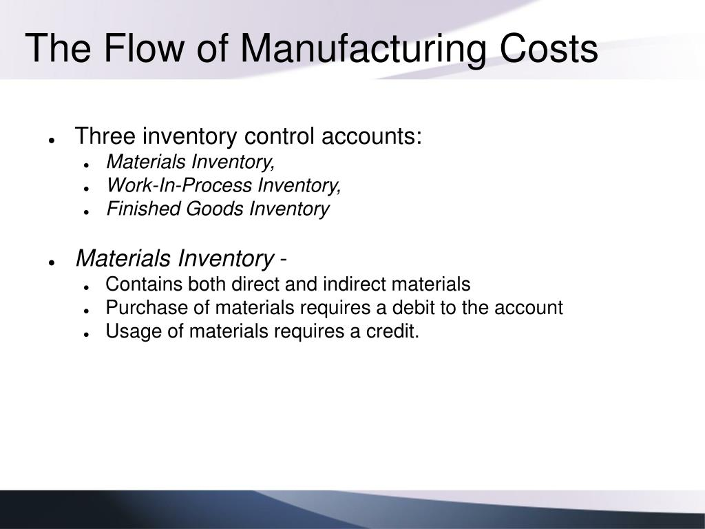 The Flow of Manufacturing Costs