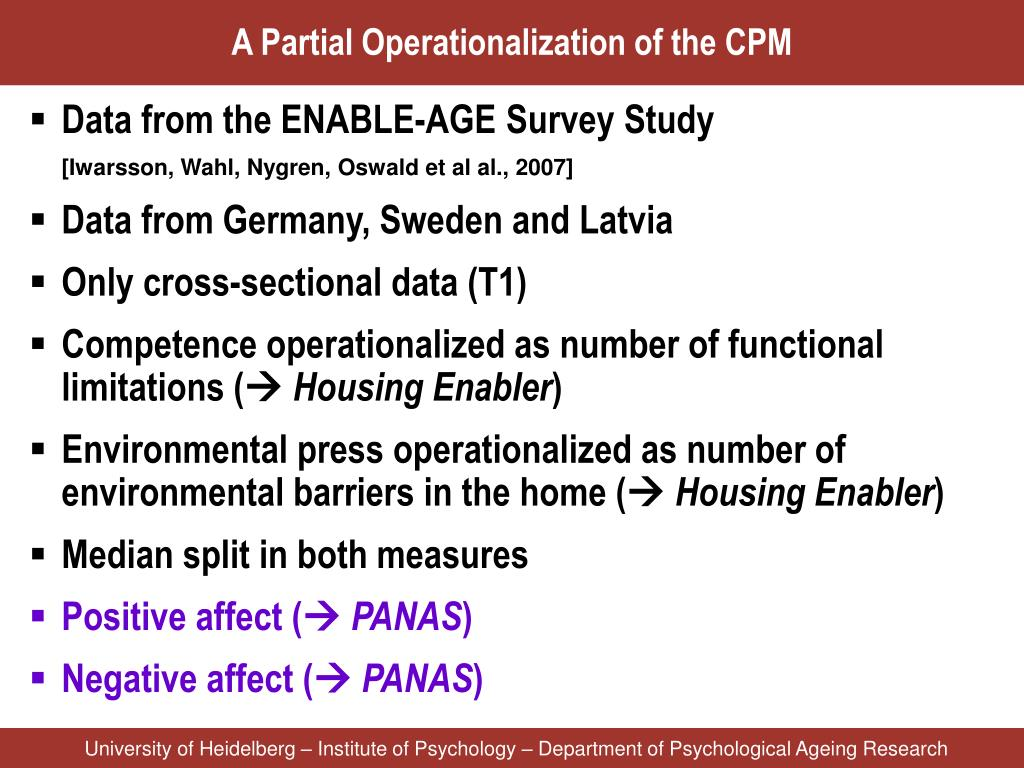 A Partial Operationalization of the CPM