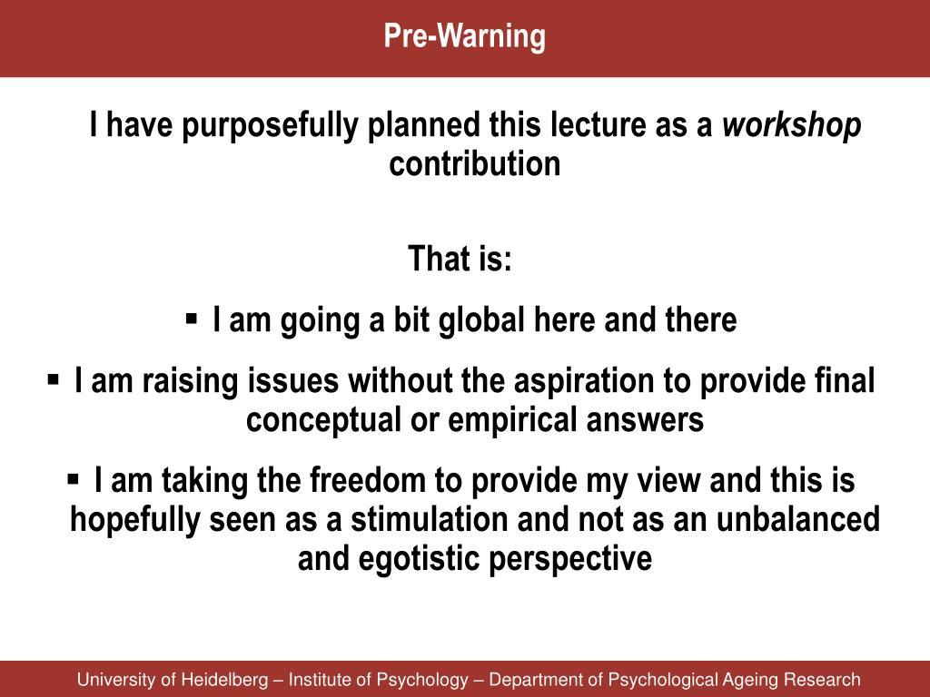 Pre-Warning