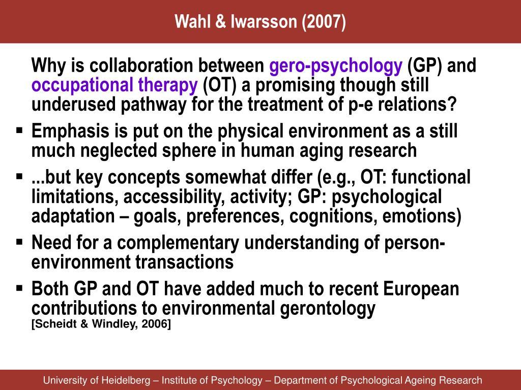 Wahl & Iwarsson (2007)