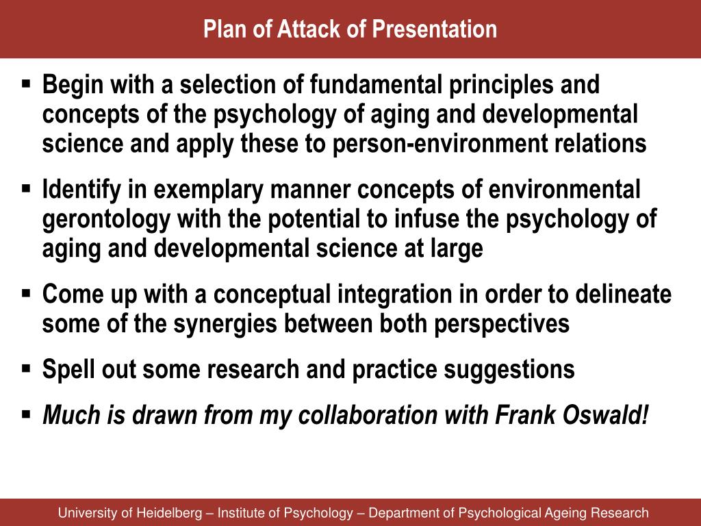 Plan of Attack of Presentation